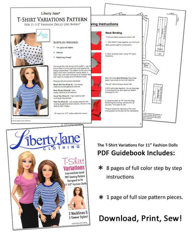 "T-Shirt Variations Pattern For 11-1/2"" Fashion Dolls"
