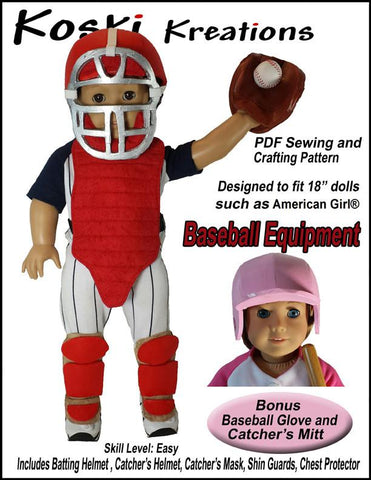 "Koski Kreations 18 Inch Modern Baseball Equipment 18"" Doll Accessory Pattern Pixie Faire"