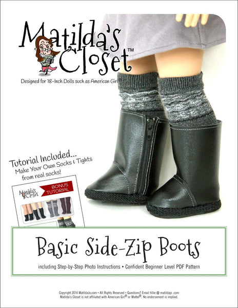 Matilda S Closet Basic Side Zip Boots Doll Clothes Pattern