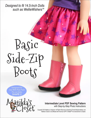 "Basic Side-Zip Boots 14.5"" Doll Clothes Pattern"