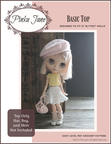 "Basic Top Crochet Pattern For 12"" Blythe Dolls"