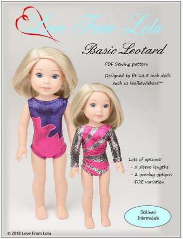 "Love From Lola WellieWishers Basic Leotard 14.5"" Doll Clothes Pattern Pixie Faire"