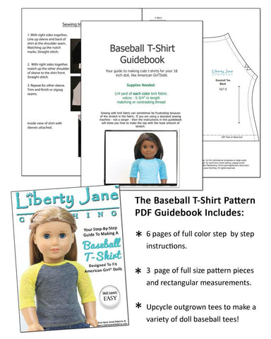 Liberty Jane Baseball Tee Doll Clothes Pattern for American Girl