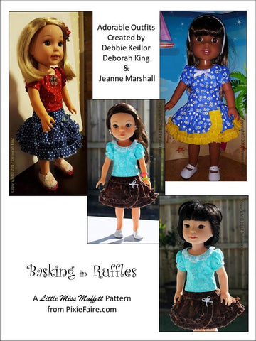 "Basking In Ruffles 14-14.5"" Doll Clothes Pattern"
