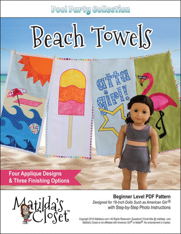 "Matilda's Closet 18 Inch Modern FREE Pool Party Collection: Beach Towels 18"" Doll Accessory Pattern Pixie Faire"
