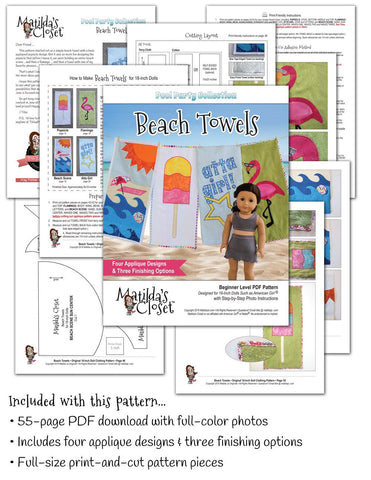 "FREE Pool Party Collection: Beach Towels 18"" Doll Accessory Pattern"