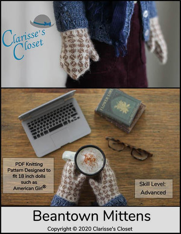 "Clarisse's Closet Knitting Beantown Mittens 18"" Doll Clothes Knitting Pattern Pixie Faire"