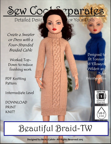 Beautiful Braids Knitting Pattern for Ellowyne and Tyler Wentworth Dolls