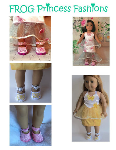 PDF machine embroidery pattern butterfly shoes designed to fit 18 inch American Girl Dolls