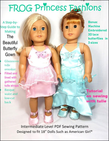 "Frog Princess Fashions 18 Inch Modern Beautiful Butterfly Gown 18"" Doll Clothes Pattern Pixie Faire"