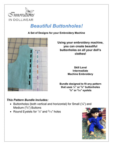 Beautiful Buttonholes! Bundle Machine Embroidery Design