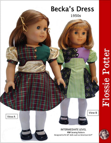 "Becka's Dress 18"" Doll Clothes Pattern"