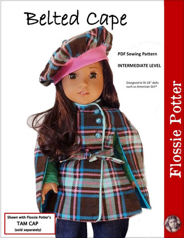 pdf doll clothes pattern Flossie Potter Belted Cape designed to fit 18 inch American Girl dolls
