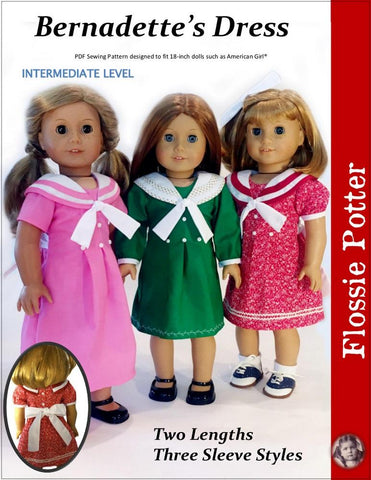 pdf doll clothes sewing pattern Flossie Potter Bernadette's Dress sailor collar dress designed to fit 18 inch american girl dolls