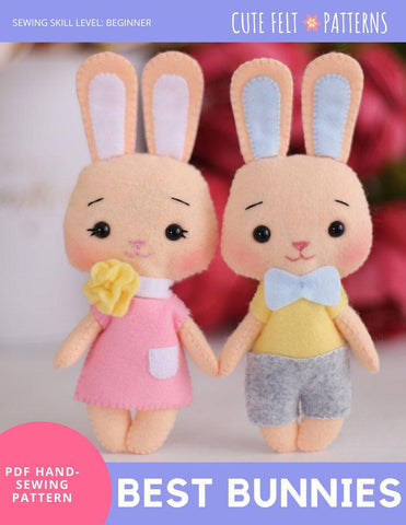 "Cute Felt Patterns Hand Sewing Best Bunnies 6.5"" Felt Plush Hand Sewing Pattern Pixie Faire"