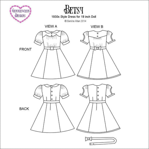 "1930's Betsy Dress 18"" Doll Clothes Pattern"