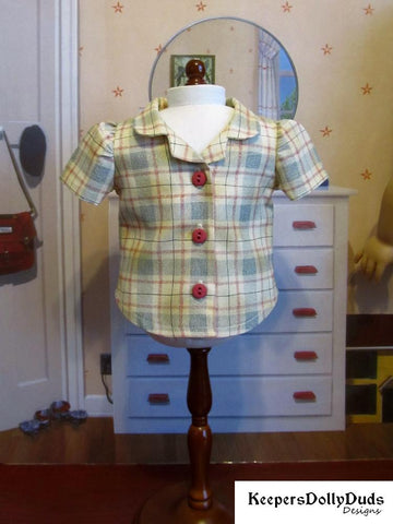Keepers Dolly Duds PDF doll clothes sewing pattern bibbed playsuit overalls designed to fit 18 inch American Girl dolls