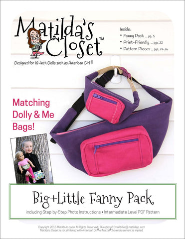 "Matilda's Closet 18 Inch Modern Big + Little Fanny Pack 18"" Doll Accessories Pixie Faire"