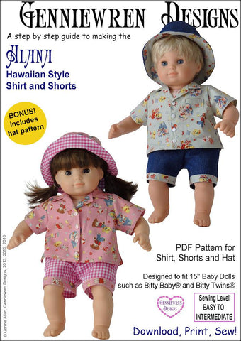 "Alana - Hawaiian-Style Shirt, Shorts and Hat 15"" Doll Clothes"
