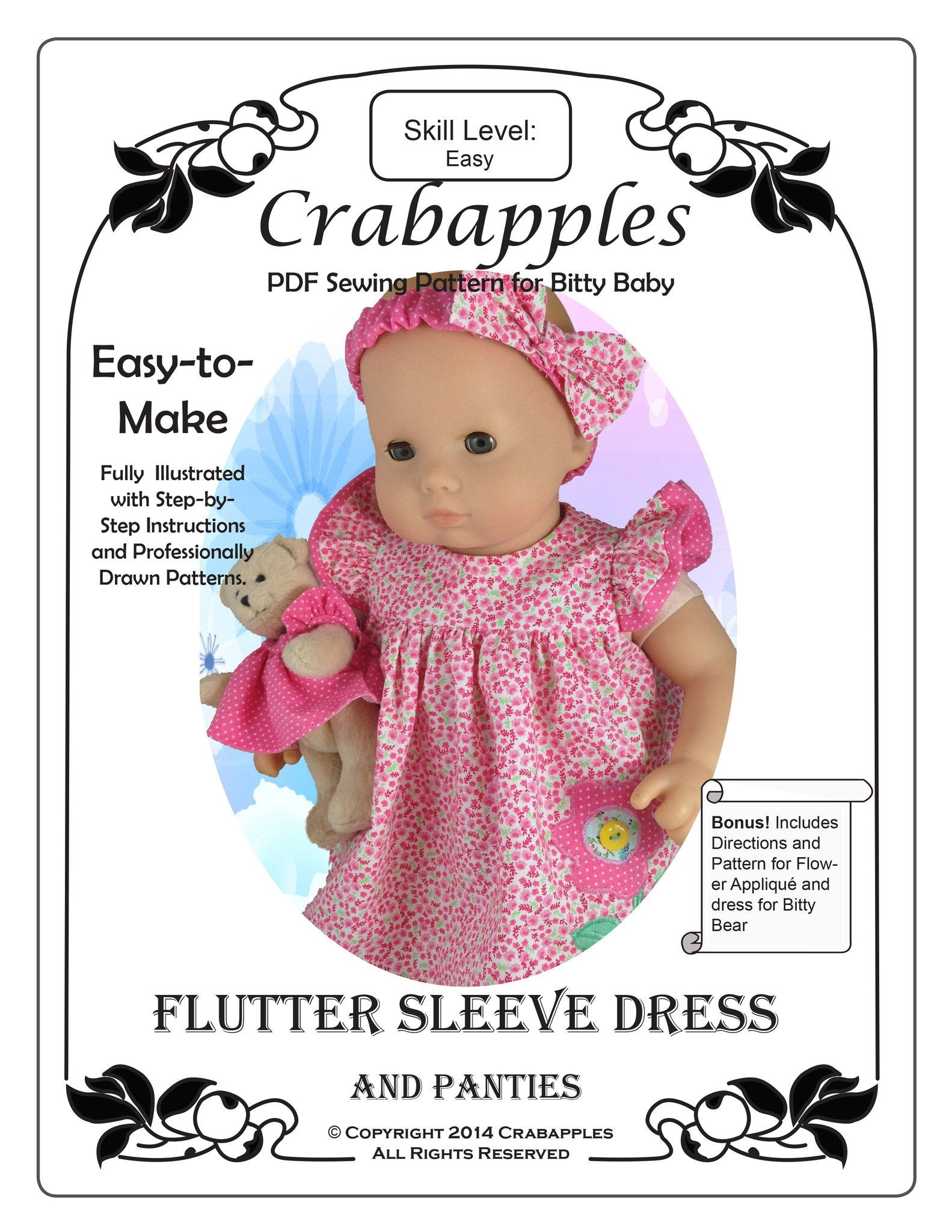 Bitty Baby Flutter Sleeve Dress 15 inch Doll Clothes PDF Pattern