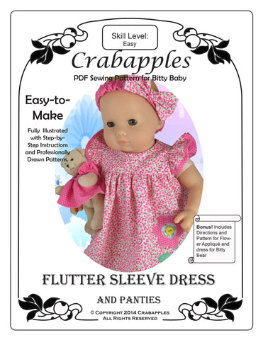 "Bitty Baby Flutter Sleeve Dress 15"" Baby Doll Clothes Pattern"