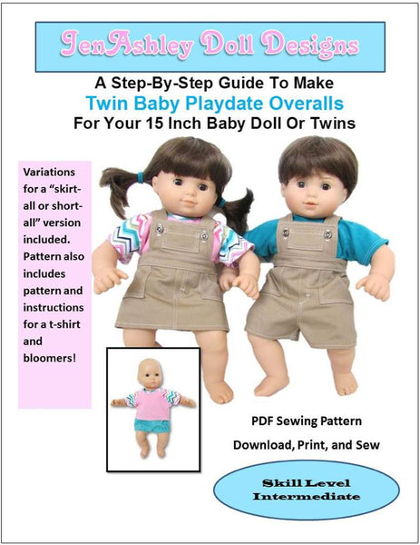 Twin Baby Playdate Overalls 15 Inch Doll Clothes Pdf