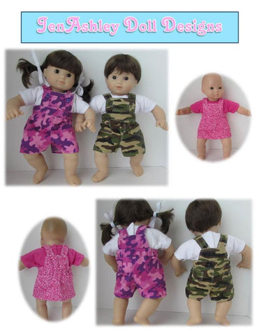 "Twin Baby Playdate Overalls 15"" Doll Clothes Pattern"