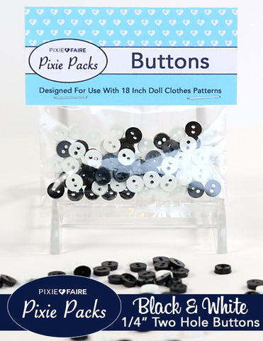 "Pixie Packs 1/4"" Buttons Black and White"