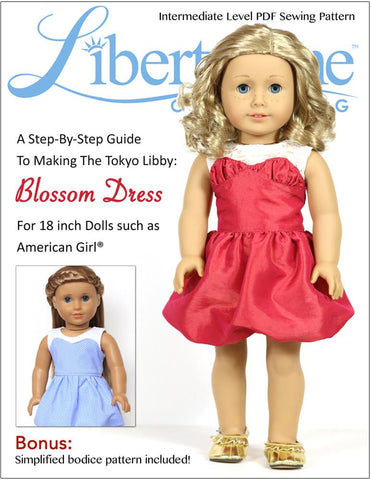 "Liberty Jane 18 Inch Modern Blossom Dress 18"" Doll Clothes Pattern Pixie Faire"
