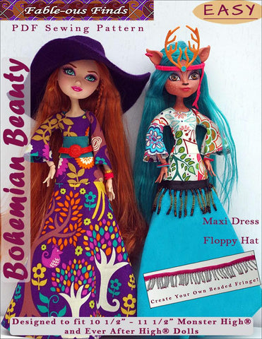 Fable-ous Finds Monster High Bohemian Beauty Maxi Dress and Floppy Hat Pattern for Monster High Dolls Pixie Faire
