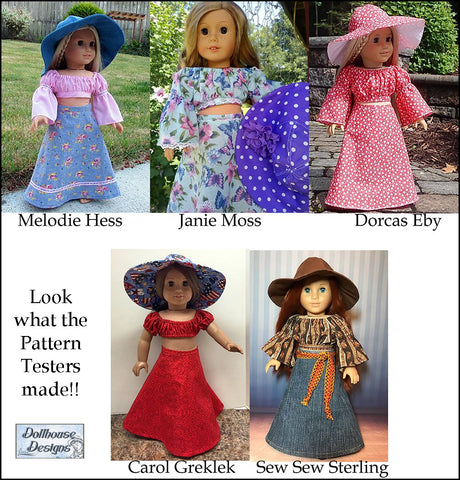 PDF doll clothes sewing pattern Dollhouse Designs Bohemian Breeze Crop Top, Skirt, Dress, & Accessories designed to fit 18 inch American Girl dolls