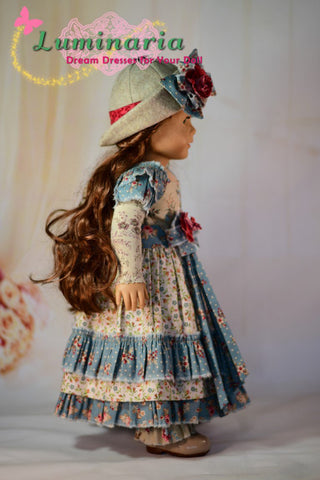 PDF doll clothes sewing pattern Luminaria Designs Bohemian Girl outfit designed to fit 18 inch American Girl dolls