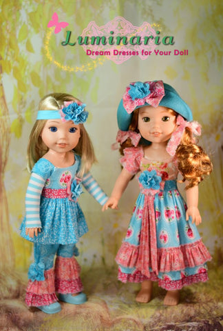 pdf doll clothes sewing pattern Luminaria Bohemian Girl designed to fit 14.5 inch WellieWishers and Hearts For Hearts Girls dolls
