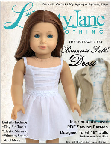 "Liberty Jane 18 Inch Modern Boomerit Falls Dress 18"" Doll Clothes Pattern Pixie Faire"