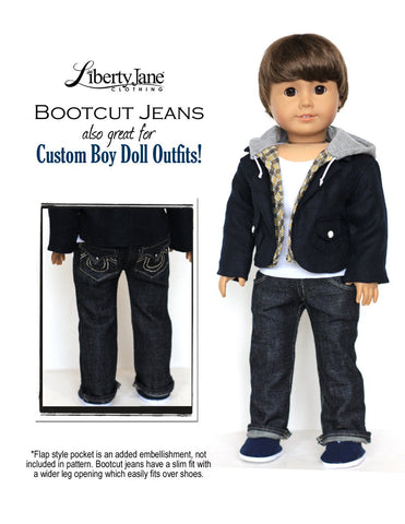 "Boot Cut Jeans 18"" Doll Clothes Pattern"