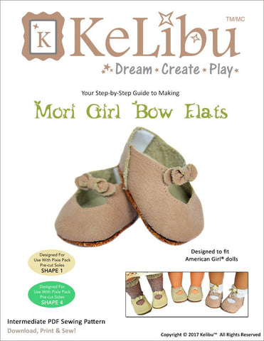 "Mori Girl Bow Flats 18"" Doll Shoes"