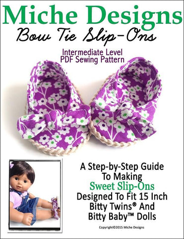 "Bow Tie Slip-Ons 15"" Baby Doll Shoes"