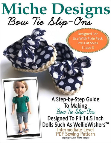 "Bow Tie Slip-Ons 14.5"" Doll Clothes Pattern"