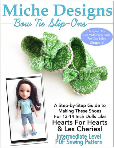 Bow Tie Slip-Ons for Les Cheries and Hearts for Hearts Dolls
