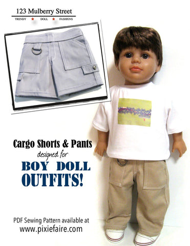 "Boy Doll Cargo Shorts 18"" Doll Clothes Pattern"