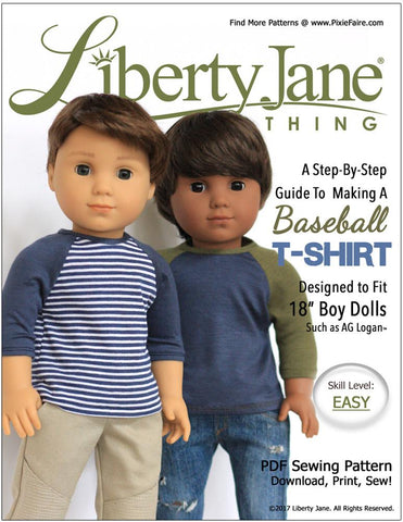 "Liberty Jane 18 Inch Boy Doll Boy Doll Baseball T-Shirt 18"" Doll Clothes Pattern Pixie Faire"
