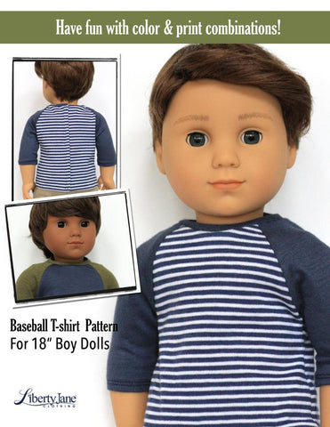 18 inch Boy Doll Clothes baseball tee Liberty Jane