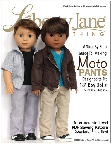 "Liberty Jane 18 Inch Boy Doll Boy Doll Moto Pants 18"" Doll Clothes Pattern Pixie Faire"
