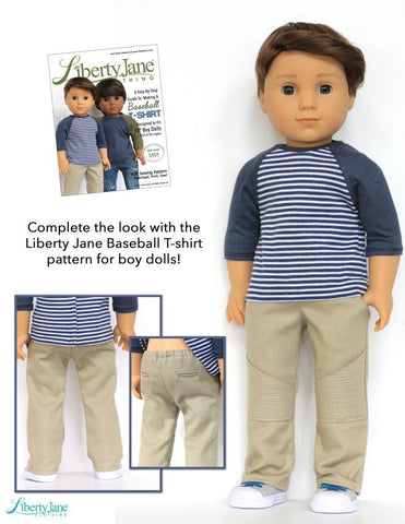 "Boy Doll Moto Pants 18"" Doll Clothes Pattern"