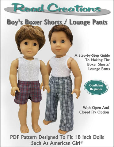 pdf doll clothes sewing pattern ReadCreations Boys Boxer Shorts and Lounge Pants designed to fit 18 inch American Girl boy dolls