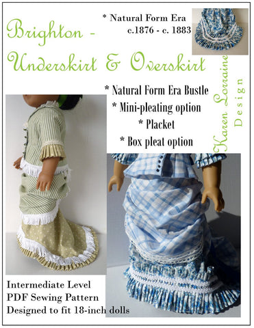 "Brighton Underskirt & Overskirt 18"" Doll Clothes Pattern"