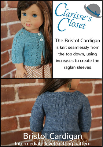 "Clarisse's Closet Knitting Bristol Cardigan 18"" Doll Clothes Knitting Pattern Pixie Faire"