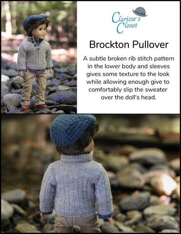 "Brockton Pullover 18"" Doll Clothes Knitting Pattern"
