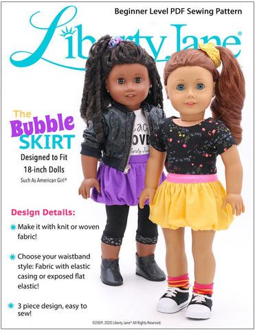 "Bubble Skirt 18"" Doll Clothes Pattern"