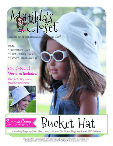 Matilda's Closet 18 Inch Modern Summer Camp Collection: Bucket Hat for Kids and Dolls Pixie Faire